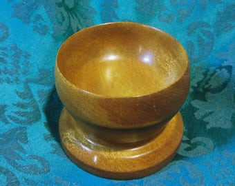 Small Miniature Mahogany Handturned Stout Wooden Candle Holder or Bowl