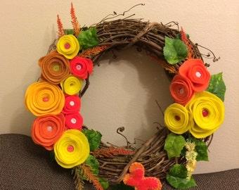 Orange Spring Twig Wreath