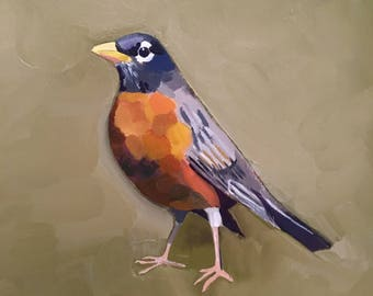 American Robin - oil painting sketch