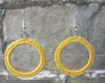 Small Crochet Classic Hoop Earrings - Yellow