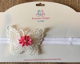 Butterfly Headband, Flower Headband, Baby Girl Headband, Baby, Shabby, Elastic Headband, Baby Headband, Hair Clip