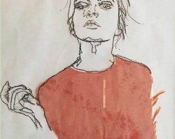 Machine sewn fabric pencil portrait