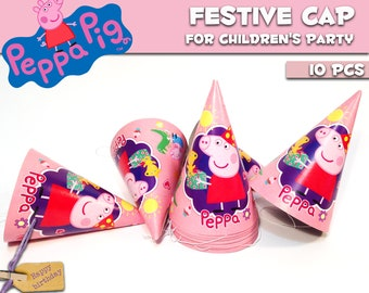 Party hats Peppa Pig 10 pcs. Party hat for children's holiday or birthday. Set for children's holiday, party or birthday. Peppa Pig party.