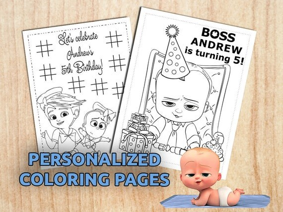 boss baby 8 party activity coloring pages personalized printable digital pdf