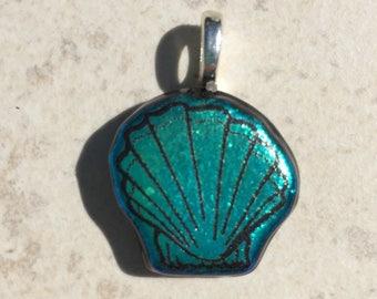 Dichroic Fused Glass Pendant - Teal Green Small Scallop Shell Laser Engraved Etched Pendant