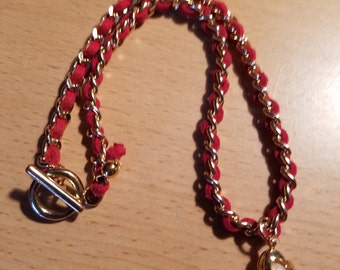 Red & Gold-tone Choker with Pear Heart Charm