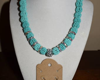 Turquoise and silver beaded Jewelry Set