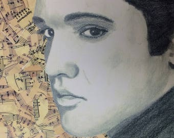 8 x 10 Elvis drawing and collage