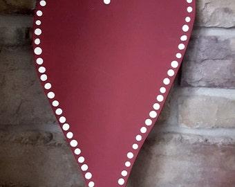 Whimsical Burgundy Heart with polka dots 12x7