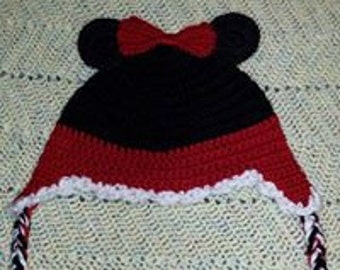 Minnie Mouse Ear Flap Crocheted hat