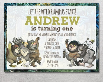 Where the Wild Things Are Invitation, Wild Things Are Birthday Invites, Wild Things Party Invite, Max Card Printables, Printable Invitations