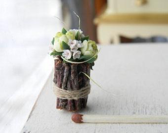 Dollhouse Flowers, Miniatures 1:12, Miniature Flowers, Dollhouse Miniature Flowers Bouquet, dollhouse décor, Rustic Decor