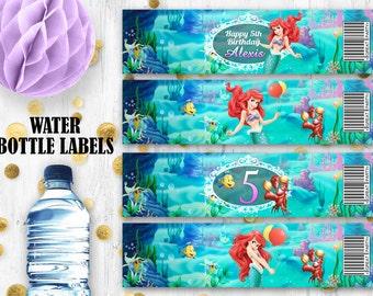 Little Mermaid Ariel Water bottle labels Printable digital bottle labels