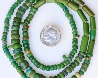 24 Inch Strand of Mixed Excavated Glass Beads - Vintage African Trade Beads - EX208-105