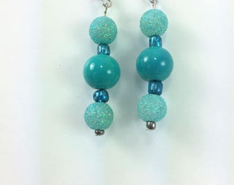 Frosted aqua green earrings with solid aqua green middle #66