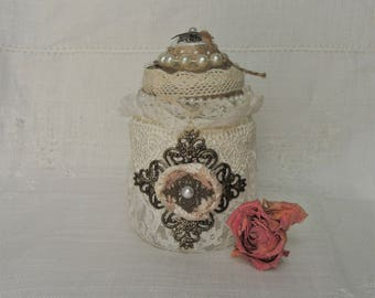 Shabby Chic Decor Shabby Chic Night Light Vintage Style Lace and Pearl Storage Jar Bedroom Decor Home Decor Hostess Gift Housewarming Gift