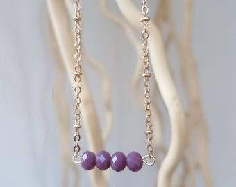 Necklace 24 k Crystal purple-clad in gold-precious necklace simple