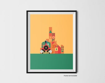 Train/mountain illustration print inspired by Disney World's Big Thunder Mountain