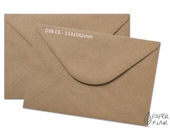50 envelopes kraft paper C6