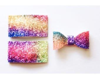 Rainbow snow cone multi glitter snap clip OR alligator clip