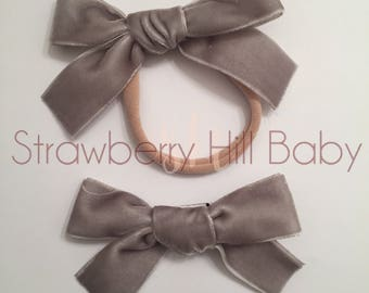 Grey velvet hand tied bow, hand tied bow, hand tied clip, velvet bow, velvet headband, velvet bow headband, hand tied headband