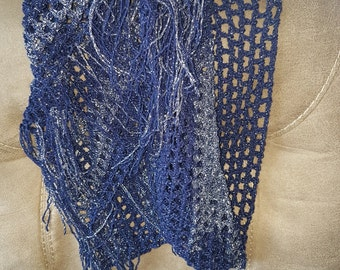 Navy/Silver sparkle fringed cowl
