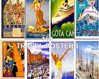 Vintage Travel Posters (164 images)-  Vintage,Mixed Media, Collage, Scrapbooking, Photo, Image