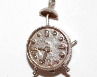 Vintage Sterling Silver Bracelet Charm Moving Alarm Clock (4.2g)