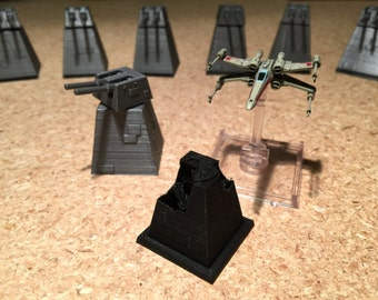 XX-9 Turbolaser Turret for X-Wing Miniatures (Silver & Black w/Optional Platform)