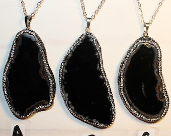 Geode Necklace // Agate Necklace // Select Color // Druzy Necklace // Druzy Jewelry // Agate Slice// Real Silver Plated Chain