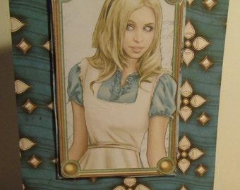 Handmade Decoupage Inspired By Alice in Wonderland - Alice Teal