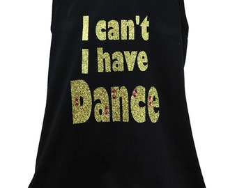 Girls I Cant I Have Dance Gold Mesh Tank with Rhinestone