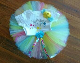 Birthday Girl Rainbow Tutu Outfit
