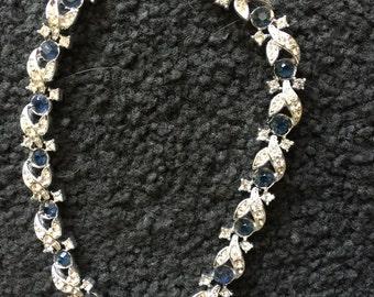 Vintage Lisner Dark Blue and White Rhinestone Necklace