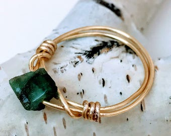 Natural Emerald Ring, Rough Emerald Ring, Natural Emerald Wire Ring, Genuine Emerald Ring, Rough Gemstone Ring, Gemstone Ring, Emerald Ring