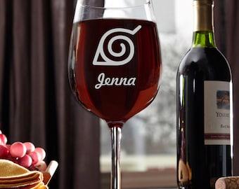 Naruto,naruto shippuden symbol, wine glass with Name, Personalized Wine glass