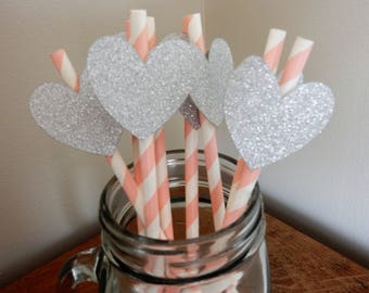 Party Straws. Pink, White and Silver Heart Paper Straws. Wedding, Engagement, Birthday, Baby Shower, Party Decorations, Handcrafted