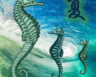 SEAHORSE w. SUMMER Symbol in Ocean Whirlpool, Art Print, 6x6 image in 8x10 mat