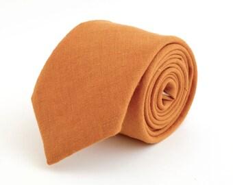 Orange linen  necktie, wedding necktie, linen necktie,  groomsmen necktie,  orange necktie, orange bow tie for men