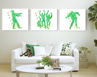 Set of Three - Zombie Trio - Glicée Print S-1 Picture Baby Boy Girl Mother Father Nursery Bedroom Design Decor