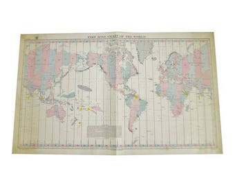 1940 Time Zone Chart Of The World No. 5192 12th Edition