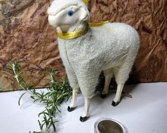 Vintage Large Wooly Sheep with Wooden Stick Legs, Christmas/Easter Putz, circa 1950's