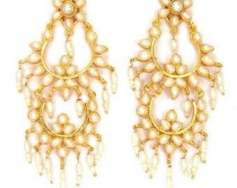 Exquisite Polki Pearls Earrings
