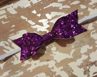 5in purple glitter leather double stacked bow on elastic
