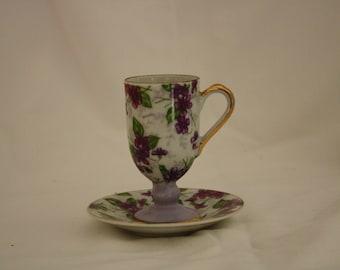Vintage Porcelain Demitasse Cup and Saucer, Gold Trim with Purple Violets