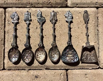 Collection of Vintage Silver Plated Dutch Spoons / Set of Souvenir Spoons from The Netherlands / Holland