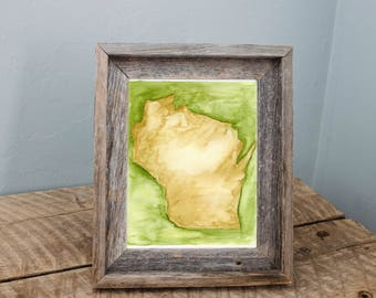 Wisconsin State Green and Gold Watercolor