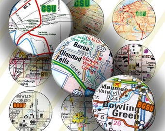 Ohio University Maps #1, 1 Inch (25mm) Circles 4 x 6 Digital Collage Sheet: Instant Download