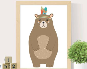 Bear print, Nursery wall art, Tribal bear, Woodlands print, Woodlands animal, Tribal Bear print, Boys print, Digital print, Nursery decor