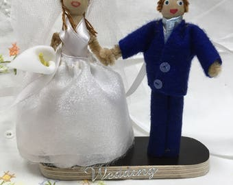 Wedding bride and groom peg doll, unique wedding gift.